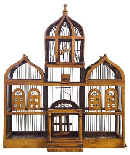 Vintage Wood and Metal Bird Cage