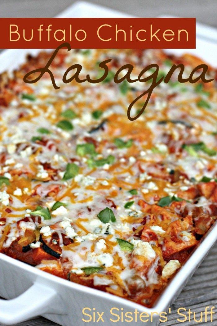 Buffalo Chicken Lasagna Recipe. ☀CQ #casseroles #quiche   http://www.pinterest.com/CoronaQueen/casseroles-and-quiche/