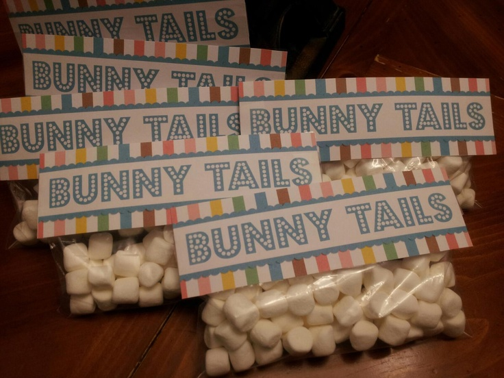 Bunny Tails. I printed and cut these free tags I found online and then added the marshmellows to the snack size zip lock bags and stapled and tapped the tags to them.