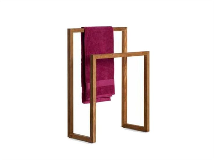 Standing teak towel rack Accessories Collection by TRIBÙ
