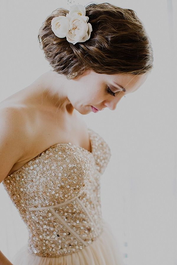 Gorgeous gold sequined wedding dress on this offbeat and glam bride