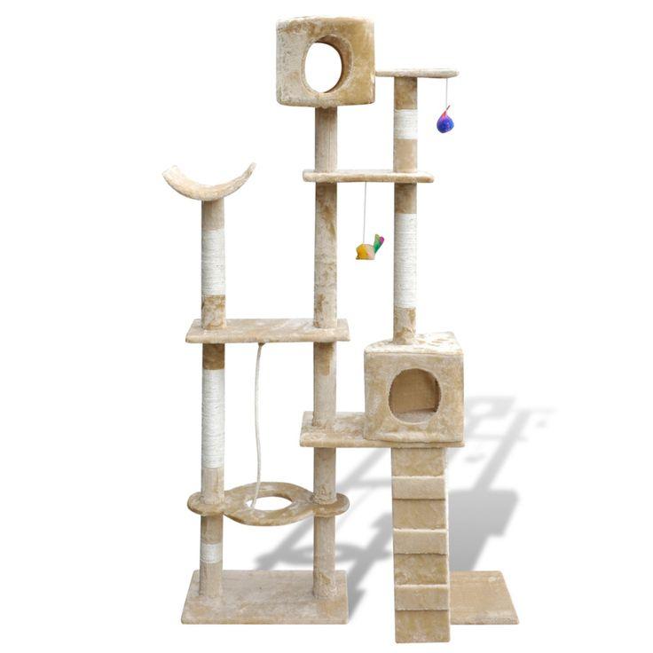 Cat Tree Scratching Post Beige Kitten Pet Scratcher Bed Activity Tower Kitty