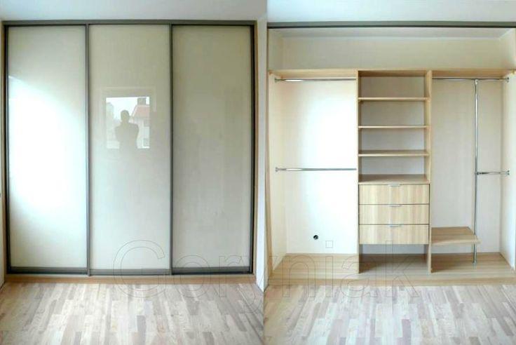 Szafa do pokoju dziennego czy sypialni z jasnym Lacobelem RAL 1015 jasny beż i profile Indeco kolor oliwka szampan