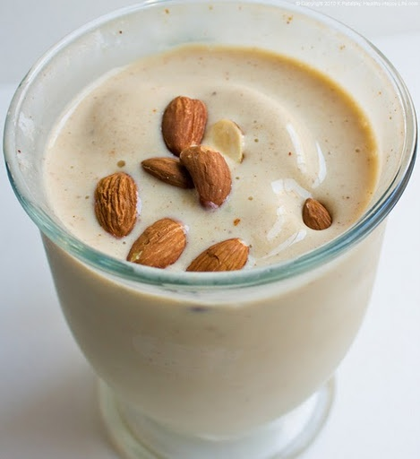 Almond Butter Banana Smoothie. Easy Energy! I originally found this on Self's website but they didn't have an image. I searched the recipe and found it here with a few tweaks. It sounds like it's a good way to start the day!