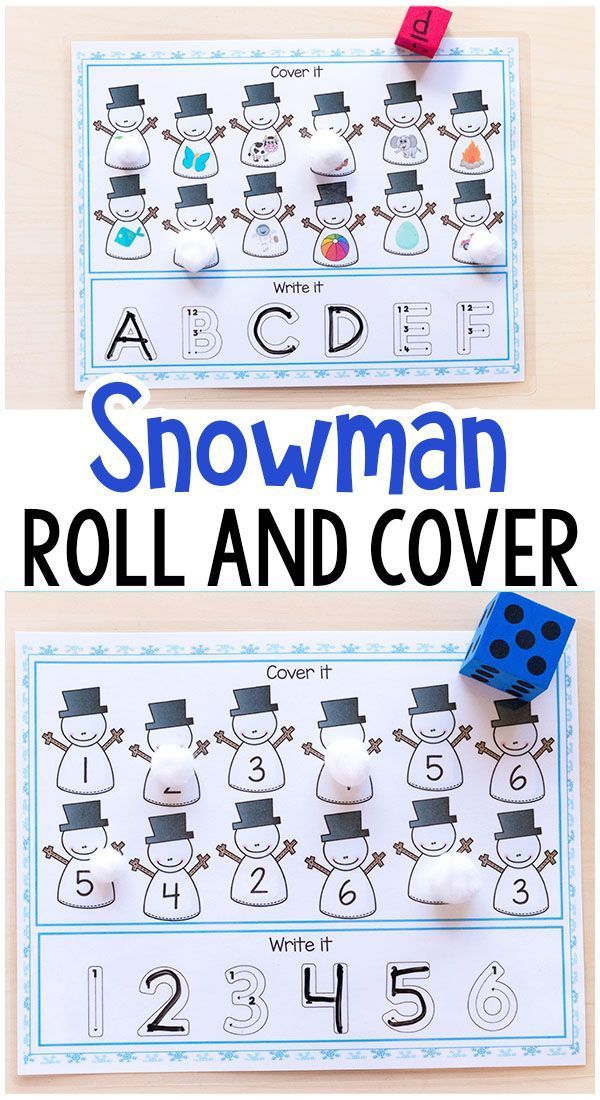 These snowman roll and cover mats make learning number sense and letter sounds fun and engaging for kids. These are perfect for winter centers or homeschool! #winter #winteractivitiesforkids #snowman #centers #literacy #math #numbersense