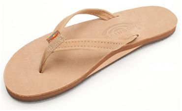 Single Layer Premier Leather with Arch Support and a Narrow Strap, Rainbow Sierra Brown.  Great neutral travel casual.