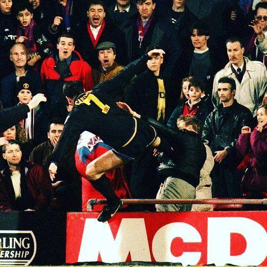 Eric Cantona famous kung fu kick against a fan.