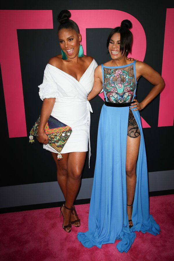 "Sanaa Lathan and Regina Hall look stunning as they share some laughs on the red carpet at the premiere of ""Girls Trip"" in Los Angeles, California."