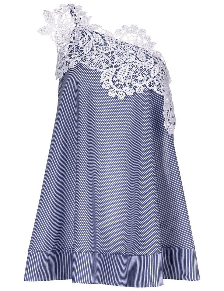 Blue Cotton Stripe One Shoulder Jesi Top | Lila Eugenie | Avenue32