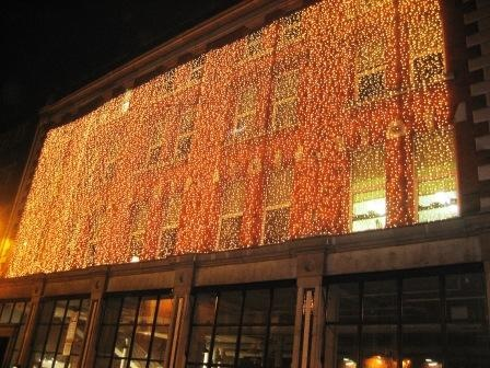 Building lit up at Christmas