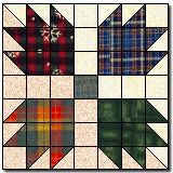 Bear Paw!  (Although it wouldn't have to be put together in these colors, I love plaid!).  From Quilter's Cache.