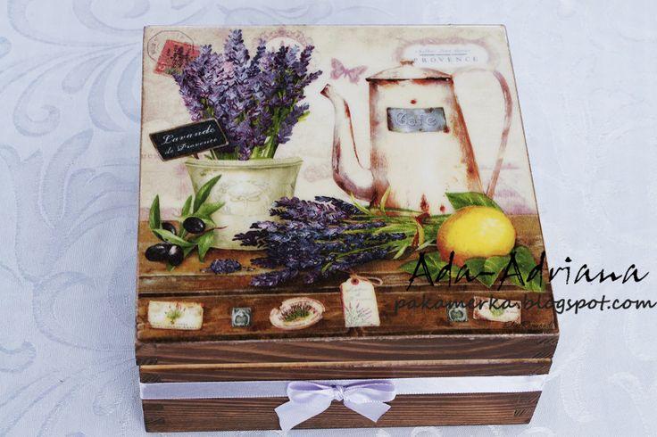 decoupage, rękodzieło, hand made, pudełko, pudełka, na herbatę na urodziny, kuchnia,