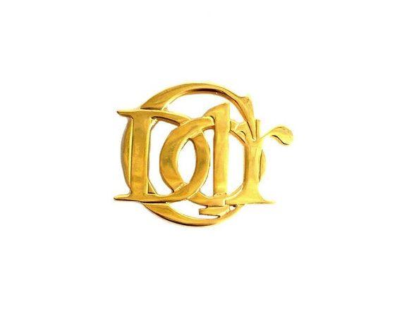 CHRISTIAN DIOR ~ authentische Jahrgang große vergoldete Brosche - Monogramm Logo CD