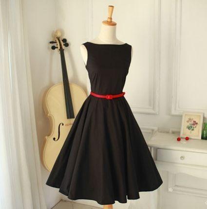 ドレス-ミニ・ミディアム ヘップバーン風♪ レトロエレガント ノースリーブワンピース