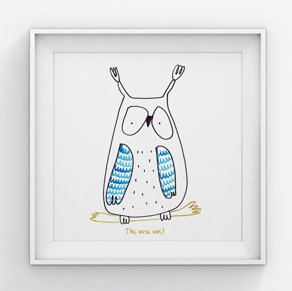 Owl  nursery wall art// Nursery wall decor//Art for by illustation
