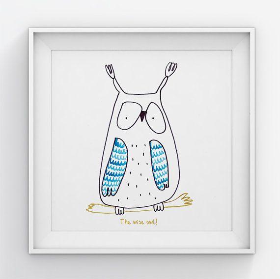 Owl  nursery wall art// Nursery wall decor//Art for by illustation