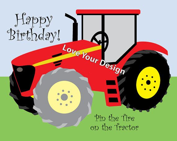 RED Farm Tractor - Pin the Tire on the Tractor Birthday party game- INSTANT DOWNLOAD You Print jpeg files on Etsy, $7.50