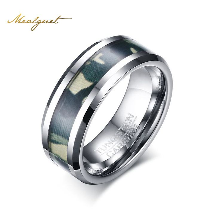 meaeguet 8mm mens tungsten carbide ring punk camo camouflage comfort fit male ring jewelry