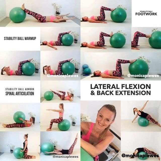 Here is the full stability ball program! Have fun and remember to always stop an exercise if it hurts where it should not... 1) Hundred Prep 8 reps 2) Spine Twist 8 sets 3) Chest Lift 8 reps 4) With rotation 8 sets 5) Footwork Toes 10 reps 6) Footwork Heels 10 reps 7) Footwork First Position 10 reps 8) Pelvic Curls 5-10 reps 9) Criss Cross 10 reps, repeat other side 10) Roll up with arm reaches 10 reps 11) Half roll back with arm reaches 5 sets 12) Cat stretch 10 reps 12) Rollover 10 reps…