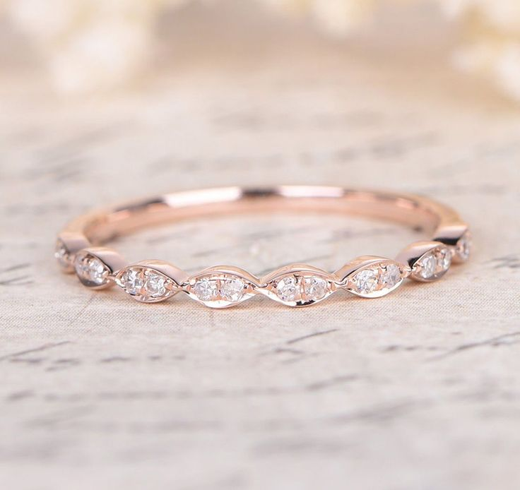 pave diamond wedding band half eternity anniversary ring 14k rose gold - Affordable Diamond Wedding Rings