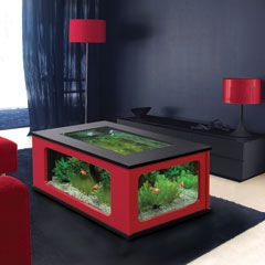 Fishtank and coffee table in one...don't like red and black though