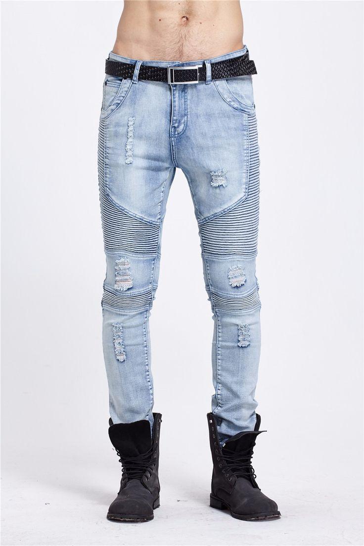 2016 Hombres Pantalones Vaqueros de hip hop masculinaCasual Denim lamentando hombres Adelgazan los Pantalones Vaqueros pantalones de Marca jeans Motorista roca flaco ripped jeans homme en Pantalones vaqueros de Ropa y Accesorios en AliExpress.com | Alibaba Group