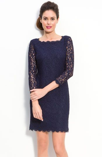 Adrianna Papell Lace Overlay Sheath Dress available at #Nordstrom- engagement pics (with sleeves for the fall)