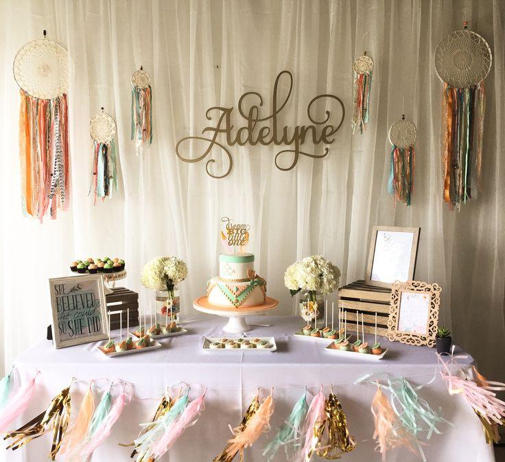 dessert table boho baby shower