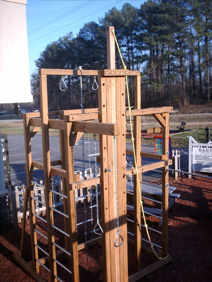 Image result for diy outdoor crossfit rig homemade for Wooden jungle gym plans
