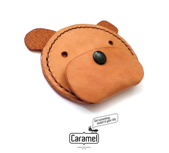 Hand Stitched Leather Coins Case Dog by CaramelLeatherCrafts