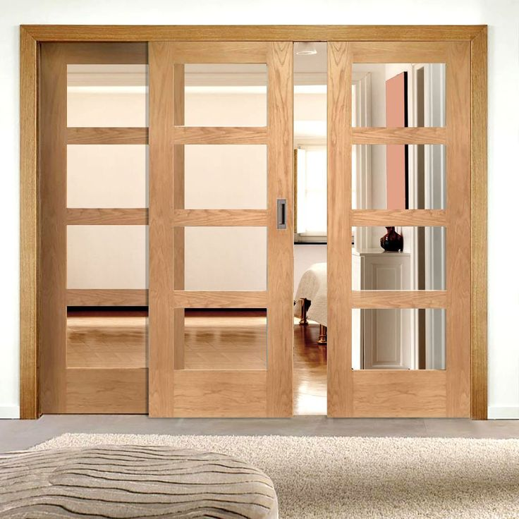 Easi-Slide OP2 Oak Shaker Four Pane Sliding Door System in Four Size Widths with Clear Glass. #oakglazedinternalslidingdoors #internalsmartroomdividers #internalglazedeasislidedoors