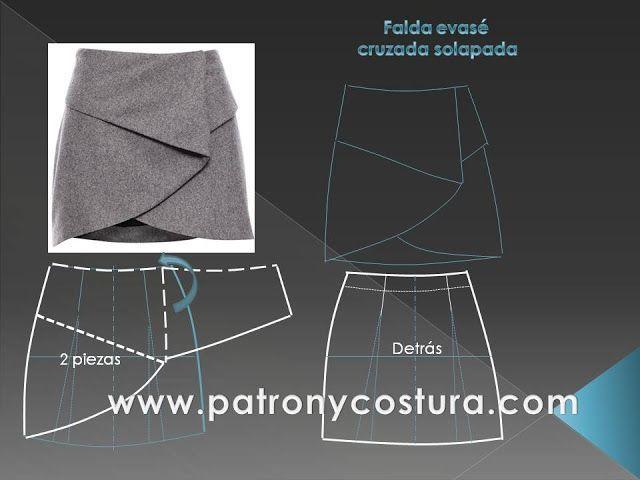 Continuando con los distintos diseños de faldas, que tanto nos encantan, aquí les traigo este modelo de falda cruzada con solapa, que me ha parecido muy bello y original. Como todas las faldas y su…#costura #patrones #faldas