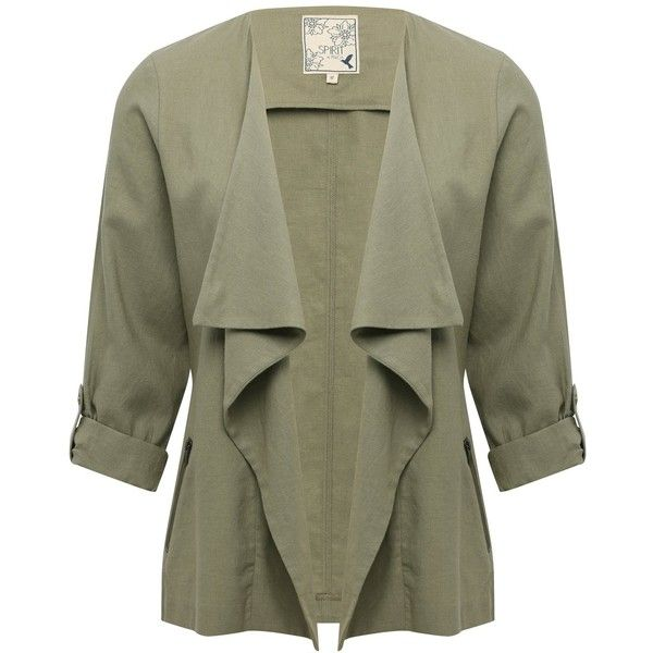 M&Co Draped Linen Jacket (150 ILS) ❤ liked on Polyvore featuring outerwear, jackets, khaki, summer jackets, linen jackets, light weight jacket, lightweight jackets and green linen jacket