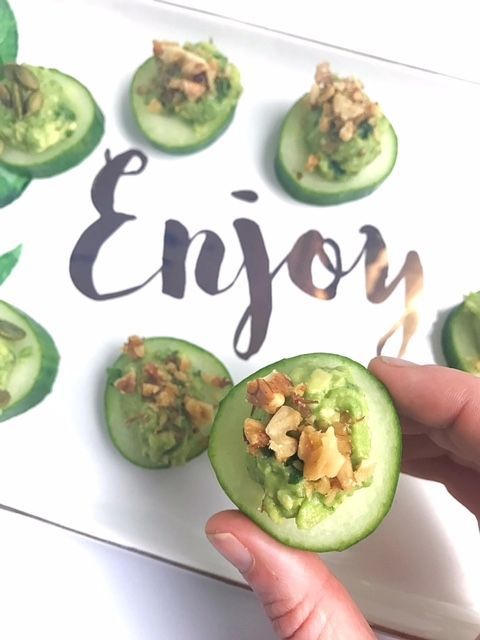 Easy snack or appetizer!  Guacamole Cucumber Coins | Vegan and Gluten Free | Lindsey Pine | TastyBalance Nutrition