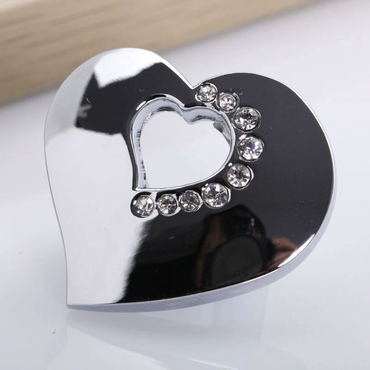 Bright Silver Knobs Heart Clear Crystal Knob Handle Drawer Knobs Glass Dresser Knobs Handles Kitchen