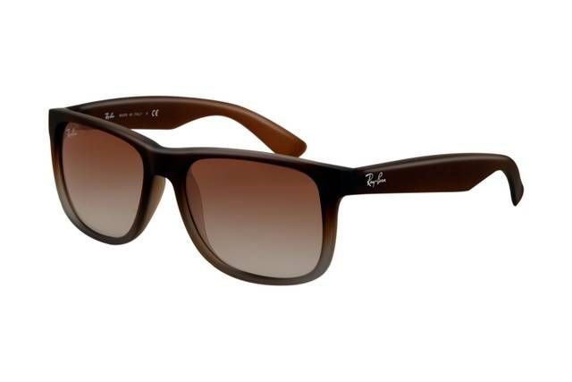 Ray Ban Justin RB4165 Sunglasses Rubber Brown Grey Frame Green Gradient Lens