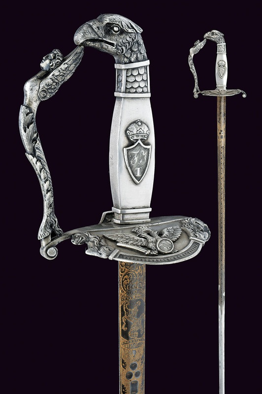 A silver mounted officer's small-sword       provenance:	 	Kingdom of Lombardy-Venetia  dating:	 	 early 19th Century