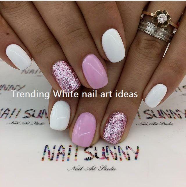 30 Simple Trending White Nail Design Ideas 2 Sns Nails Colors Nail Designs Glitter White Nail Designs