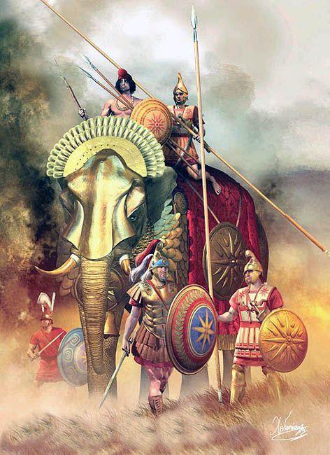 """-0310 c. """"Elefante de guerra, finales del s. IV aC"""" ¿seleúcida?), Christos…"""