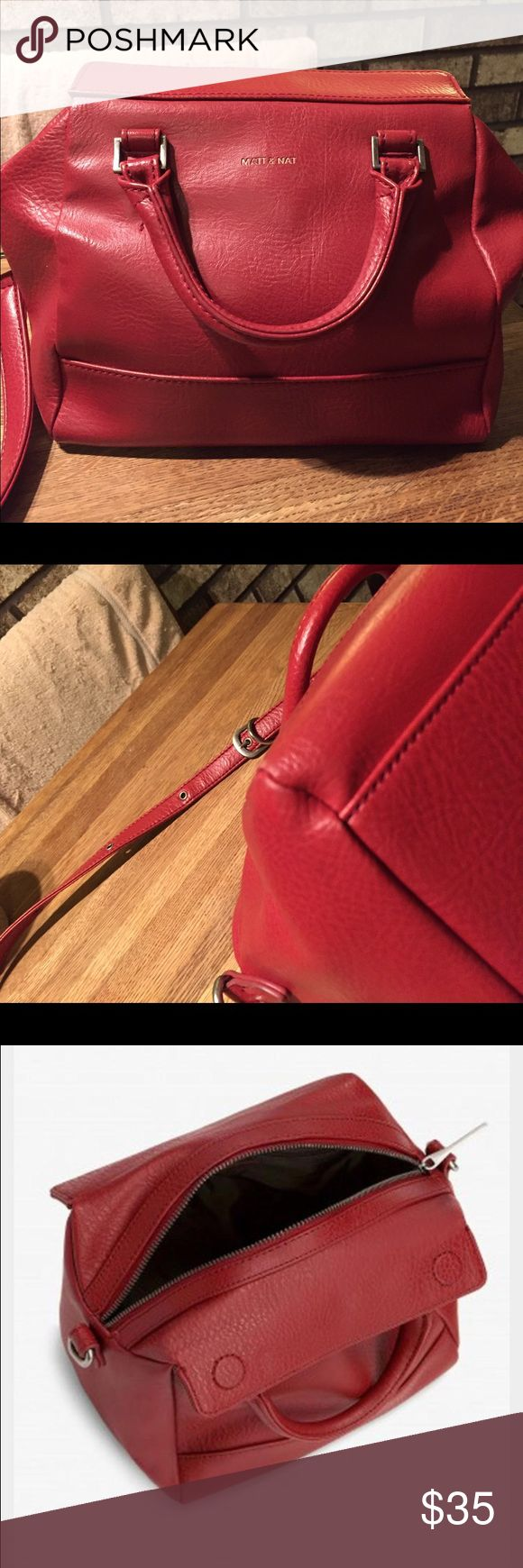 Matt and Nat Carrie Handbag Matt and Nat Carrie bag in red. Measures 11x7x5 with a shoulder strap drop of 15-21 inches. This bag is from the Matt and Nat dwell collection. This bag has been used with slight wear but is still in good condition. Vegan leather. Matt and Nat Bags Satchels
