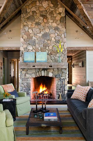 Stone Fireplace But with white couches