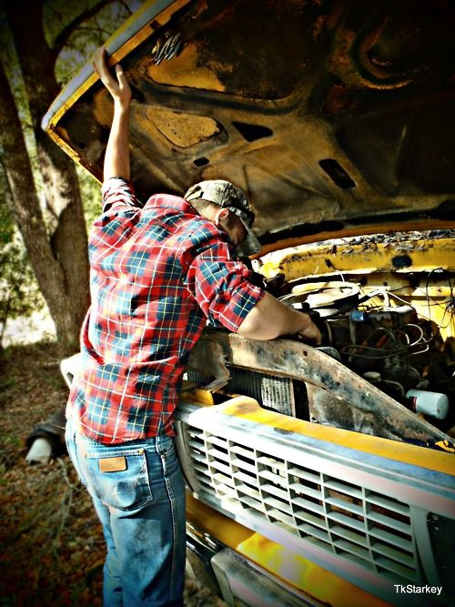 Greasy hands, camo hat, flannel shirt, skoal ring. If that was a truck he was working on, it'd be him.