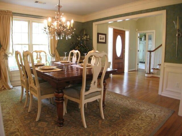 Dining Room Can I Do These Colors White And Green With Dark Cherry Furniture