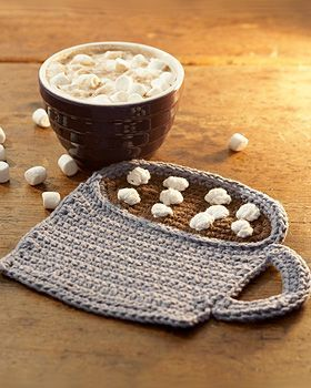Lily Sugar 'n Cream - Mug of Cocoa dishcloth or hot pad (free crochet pattern).