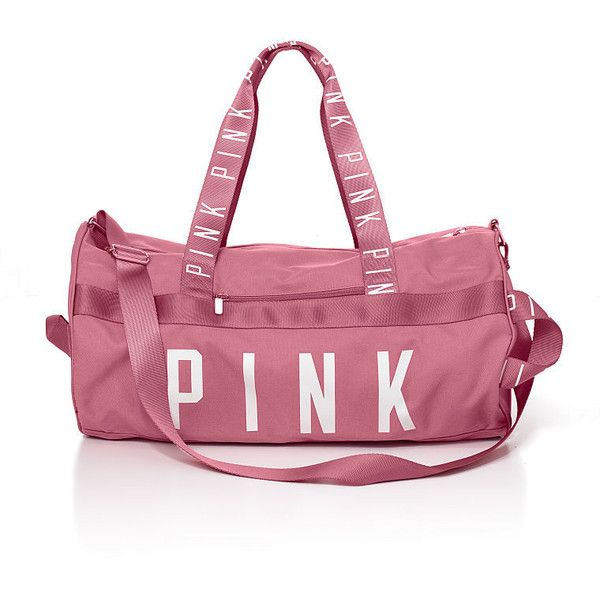 PINK Gym Duffle (115 BRL) ❤ liked on Polyvore featuring bags, luggage and purplepink