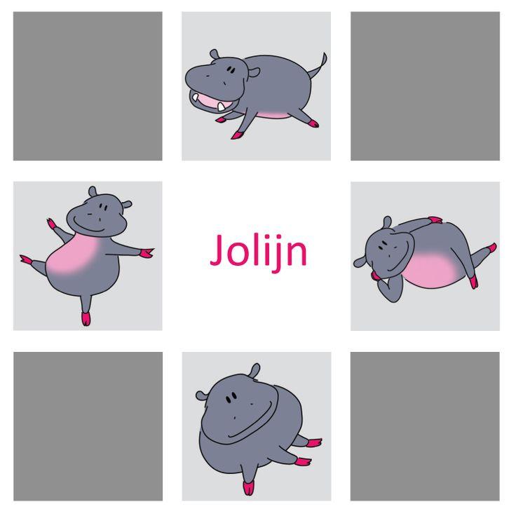 Op Jolijns geboortekaartje een serie van 4 nijlpaardjes, en die hangen ook in haar babykamer aan de wand!