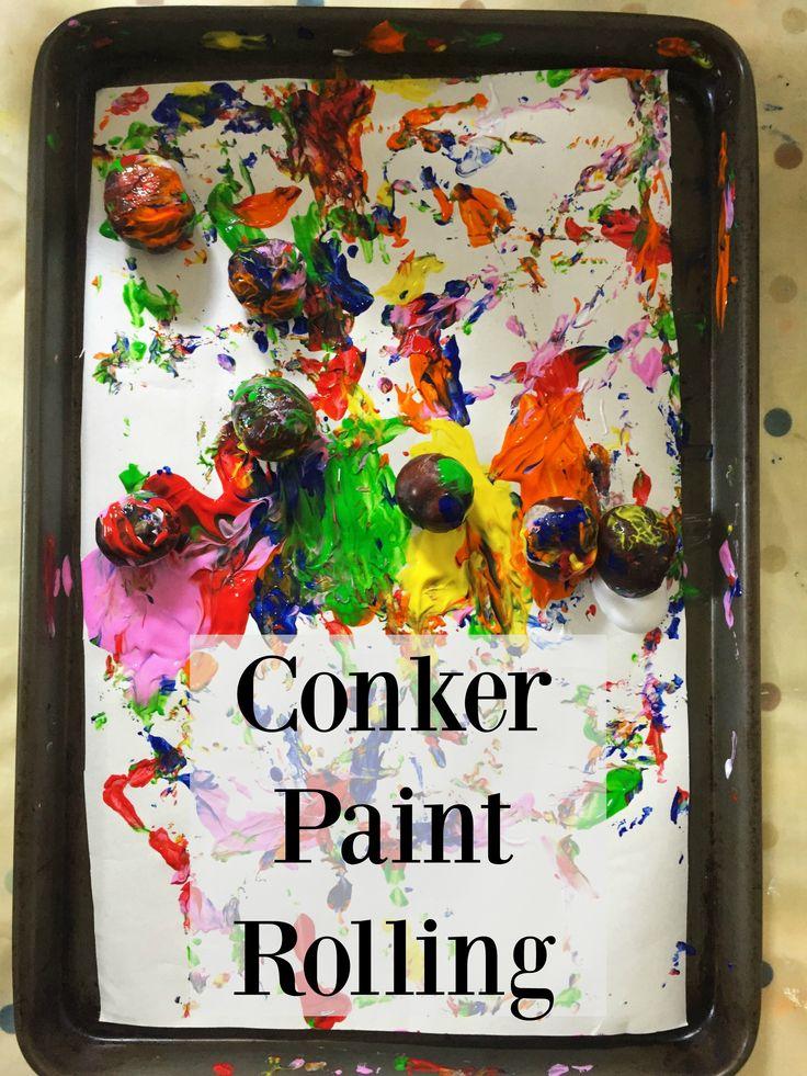 Conker Paint Rolling - An Autumn Paint Activity. Active painting, kids activities, preschool crafts, autumn crafts, autumn activities, kids crafts, marble painting, conker rolling, conker crafts, eyfs,