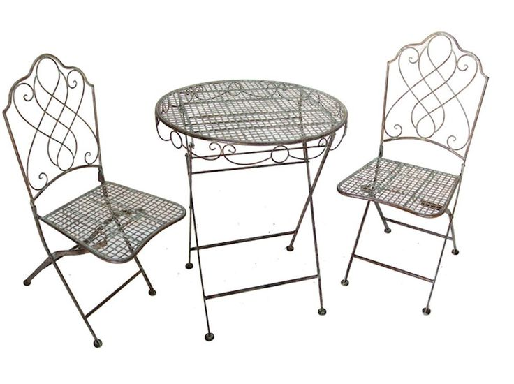 Steel bistro set in an antique or cream colour finish. This set includes a garden table and two chairs, great for use all year round.Please select the colour you require from the drop down list.This set can fold down for easy storage when not in use.