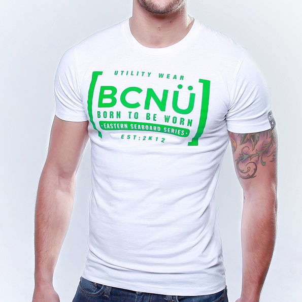 Afini-TEE WHITE  Born To Be Worn this 100% Cotton UtiliTEE is bold and a real standout. Loose fitting, not tight and extra comfortable. Dress it up, dress it down, wear it in, wear it out. www.bcnuclothing.com