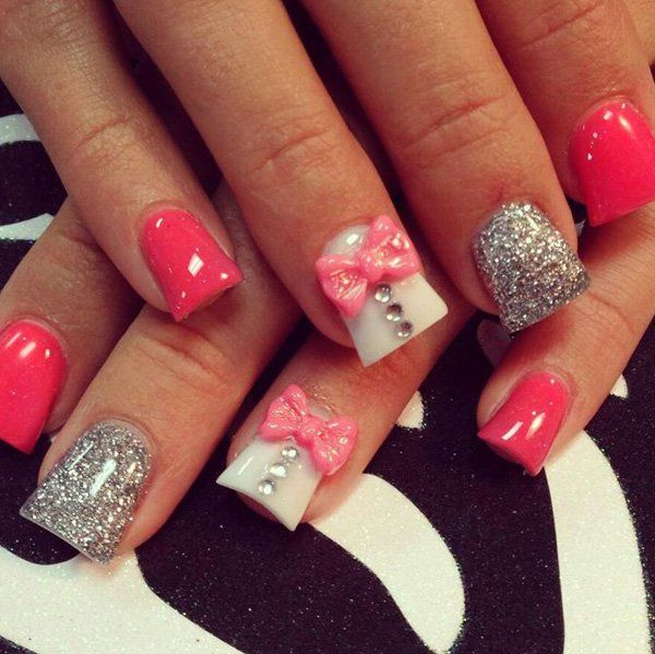 Best 25 bow nail designs ideas on pinterest grey christmas 50 cute bow nail designs prinsesfo Images